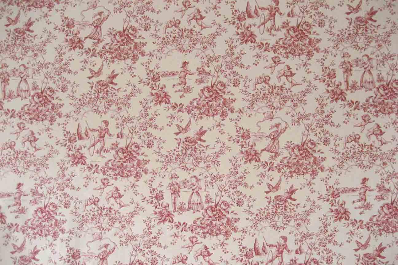Tissu toile de jouy parc monceau - Papier peint toile de jouy rouge ...